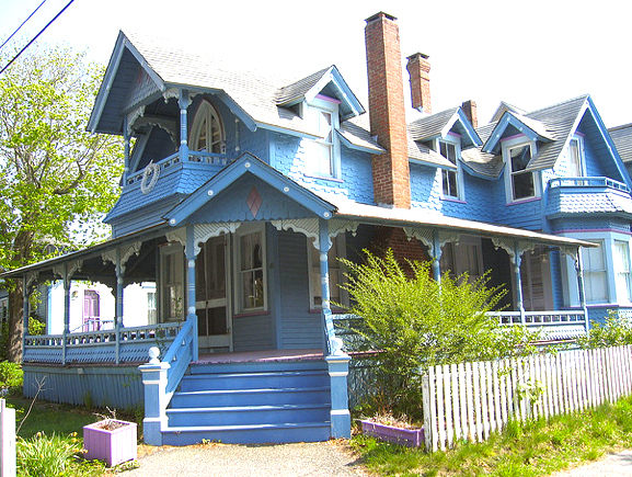 One of many blue houses at Oak Bluffs, Martha's Vineyard. Fancy a G&T on that porch?