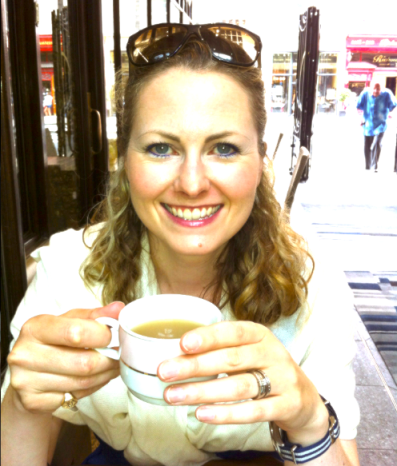 C'est moi with my Earl Grey after a shot of gossip and a raspberry mint macaron