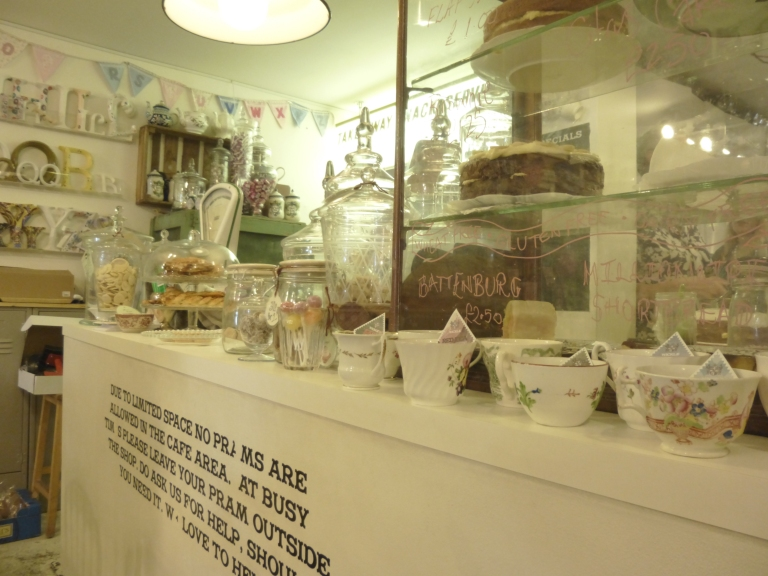 The coffee shop counter...I'm now inspired to find some vintage jars to fill with goodies!
