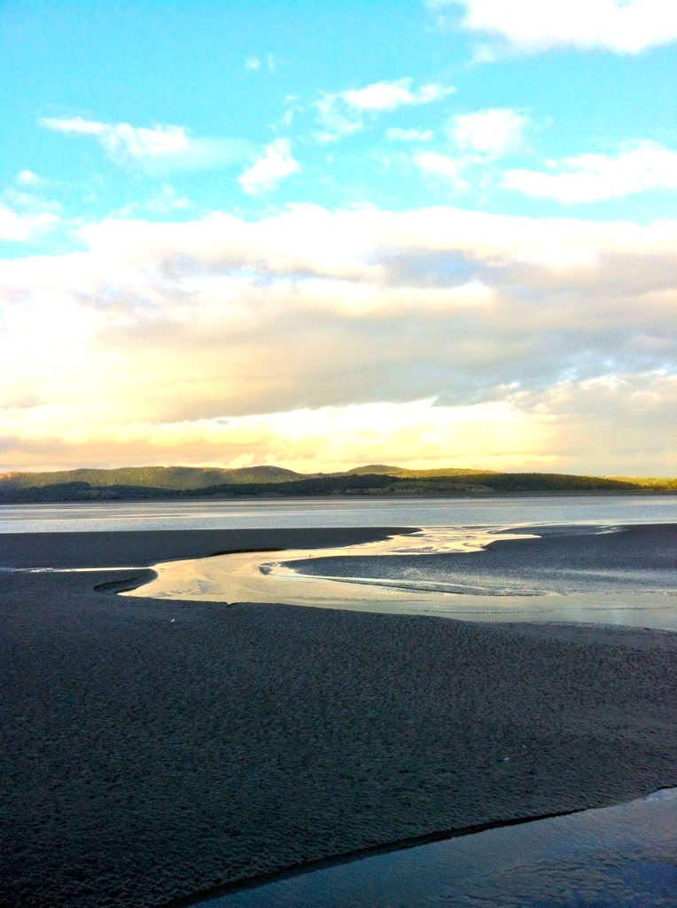The Leven Estuary, over looking the Lakeland Fells and Morecambe Bay (at sunset)