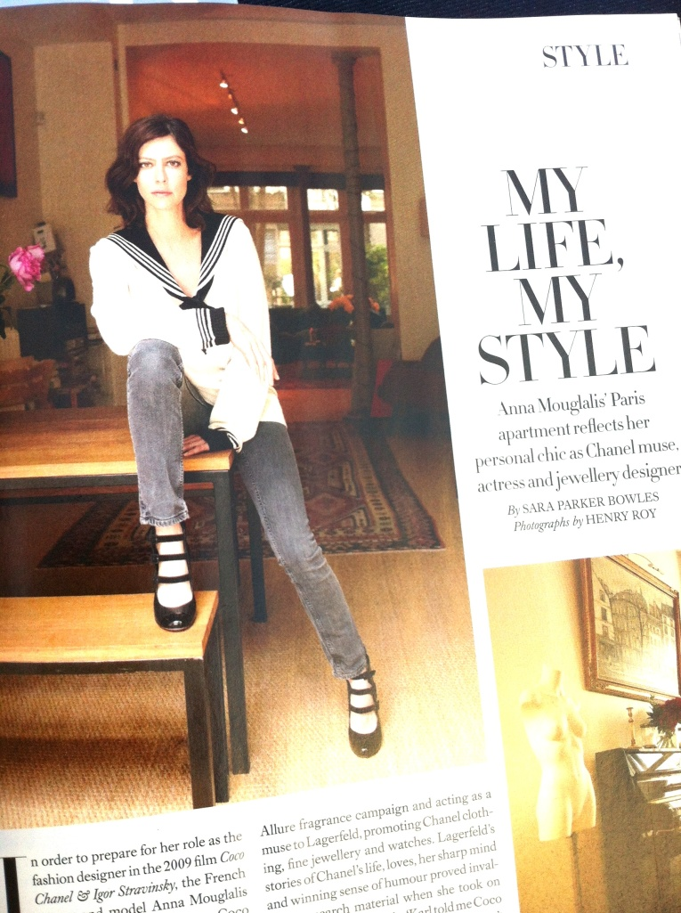 Actress Anna Mouglalis in her Paris flat wearing her own Chanel cashmere jumper (gorgeous!) and Gap jeans...(thanks to Henry Roy and Harper's Bazaar)