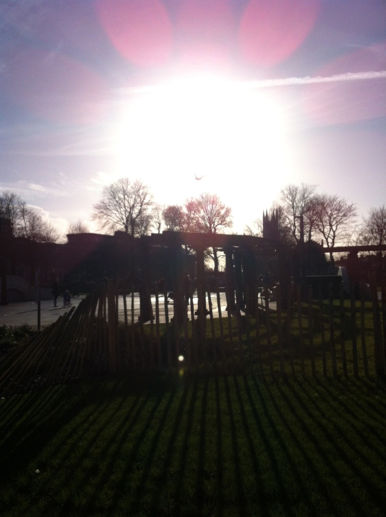 No, not Stonehenge...but the Level play area with a low January sun