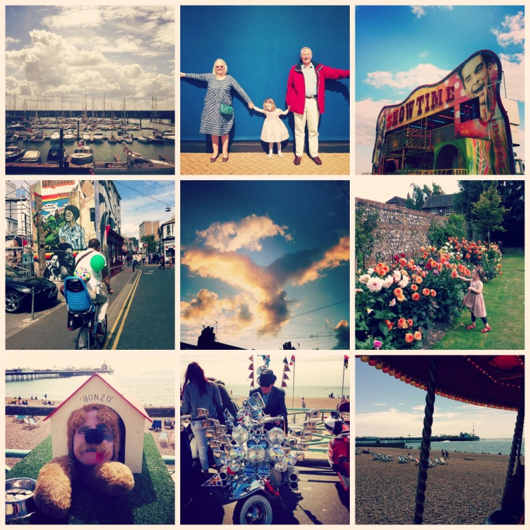 Simple pleasures…1.2.lunch with Little G, Gaga and Papi at Brighton Marina // 3. Hove Fun Fair // 4. Cycling with the family // 5. Cloud watching…my angel // 6. Beautiful flowers // 7. Bonzo the dog on the seafront…funny but weird! // 8. The most modilicious Mod // 9. On the carousel!